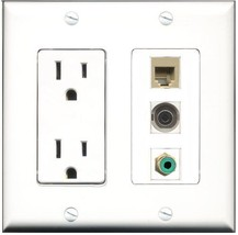 RiteAV  15 Amp Power Outlet 1 Port RCA Green 1 Port Phone Beige 1 Port 3... - $28.04