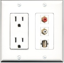 RiteAV  15 Amp Power Outlet 1 Port RCA Red 1 Port RCA White 1 Port USB A... - $28.04