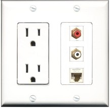 RiteAV  15 Amp Power Outlet 1 Port RCA Red 1 Port RCA White 1 Port Cat6 ... - $28.04