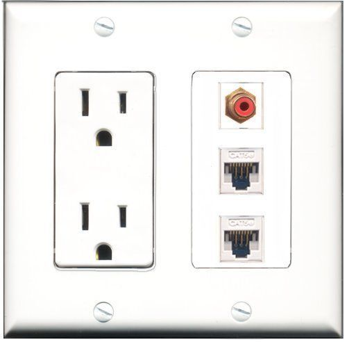 Primary image for RiteAV  15 Amp Power Outlet 1 Port RCA Red 2 Port Cat5e Ethernet White Decor...