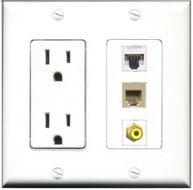 RiteAV  15 Amp Power Outlet 1 Port RCA Yellow 1 Port Phone Beige 1 Port Cat5... - $28.04