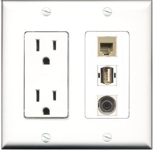 RiteAV  15 Amp Power Outlet 1 Port USB A-A 1 Port Phone Beige 1 Port 3.5mm D... - $28.04