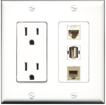 RiteAV  15 Amp Power Outlet 1 Port USB A-A 1 Port Phone Beige 1 Port Cat... - $28.04