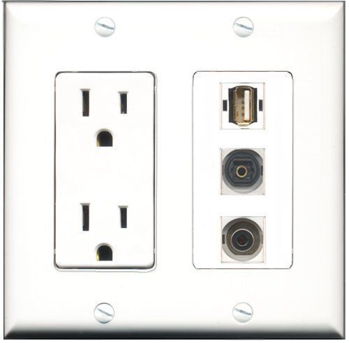 RiteAV  15 Amp Power Outlet 1 Port USB A-A 1 Port Toslink 1 Port 3.5mm Decor...