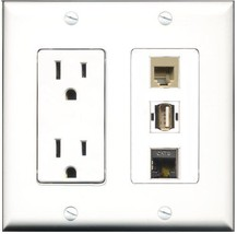 RiteAV  15 Amp Power Outlet 1 Port USB A-A 1 Port Phone Beige 1 Port Shi... - $27.76