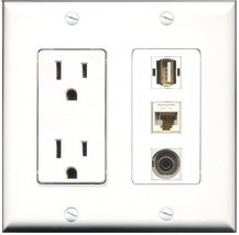 RiteAV  15 Amp Power Outlet 1 Port USB A-A 1 Port 3.5mm 1 Port Cat6 Ethe... - $28.04