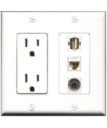 RiteAV  15 Amp Power Outlet 1 Port USB A-A 1 Port 3.5mm 1 Port Cat6 Ethe... - $28.04
