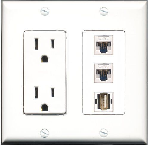Primary image for RiteAV  15 Amp Power Outlet 1 Port USB A-A 2 Port Cat5e Ethernet White Decor...