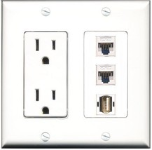 RiteAV  15 Amp Power Outlet 1 Port USB A-A 2 Port Cat5e Ethernet White D... - $28.04