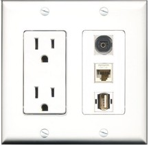 RiteAV  15 Amp Power Outlet 1 Port USB A-A 1 Port Toslink 1 Port Cat6 Et... - $28.04