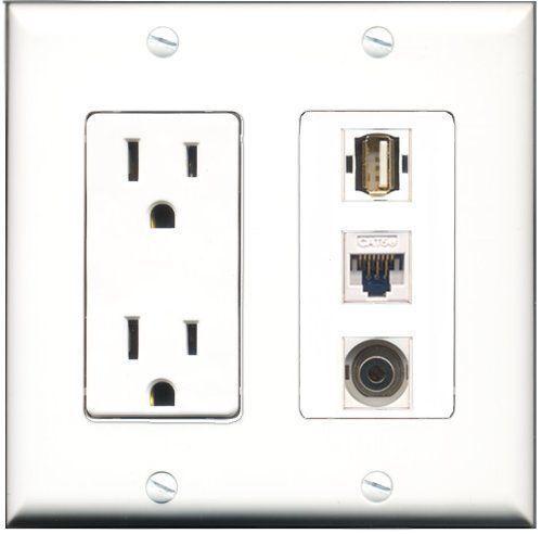 RiteAV  15 Amp Power Outlet 1 Port USB A-A 1 Port 3.5mm 1 Port Cat5e Etherne...