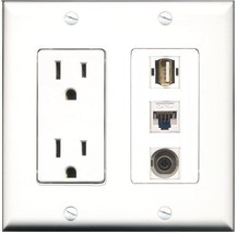 RiteAV  15 Amp Power Outlet 1 Port USB A-A 1 Port 3.5mm 1 Port Cat5e Eth... - $28.04