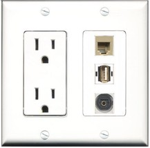 RiteAV  15 Amp Power Outlet 1 Port USB A-A 1 Port Phone Beige 1 Port Tos... - $28.04