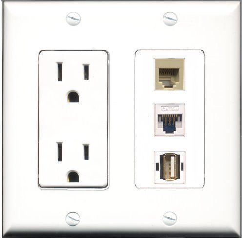 Primary image for RiteAV  15 Amp Power Outlet 1 Port USB A-A 1 Port Phone Beige 1 Port Cat5e E...