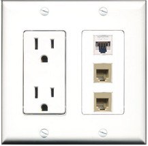 RiteAV  15 Amp Power Outlet 2 Port Phone Beige 1 Port Cat5e Ethernet Whi... - $28.04