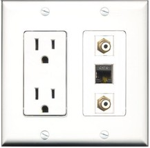 RiteAV  15 Amp Power Outlet 2 Port RCA White 1 Port Shielded Cat6 Ethern... - $28.04