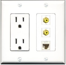 RiteAV  15 Amp Power Outlet 2 Port RCA Yellow 1 Port Cat6 Ethernet Ether... - $28.04