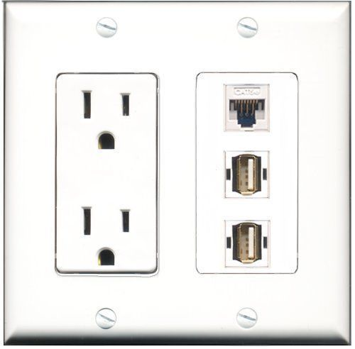 Primary image for RiteAV  15 Amp Power Outlet 2 Port USB A-A 1 Port Cat5e Ethernet White Decor...