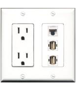 RiteAV  15 Amp Power Outlet 2 Port USB A-A 1 Port Cat5e Ethernet White D... - $28.04