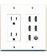RiteAV  (2 Gang Decorative) 15A Power Outlet 5 HDMI Coax Cable TV Wall P... - $43.49