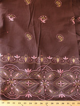 Sequin Metallic Embroidered Brown Cotton Blend Fabric by the Yard D172.01 - $9.95