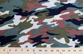 Matte' Jersey Woodland Camo Fabric Print by the Yard D442.22 - $7.99