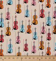 Cotton Dan Morris Perfect Pitch Violins Music Instruments Fabric by Yard... - $10.95
