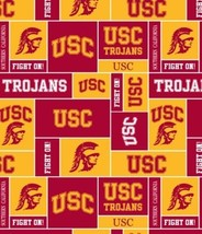 Package of Short Pieces USC SC Cali Trojans College Fleece Fabric Print D004.41 - $11.09