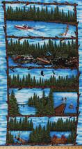 "23.5"" X 44"" Panel Summer Vacation Scenes Pine Trees Cotton Fabric Panel D509.13 - $6.49"