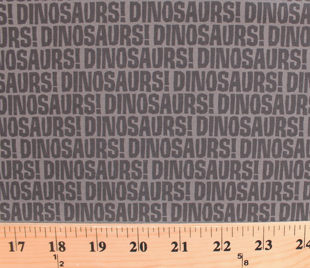 Cotton Dinosaurs! Words Font Writing Gray Kids Cotton Fabric Print BTY D502.25 - $10.95