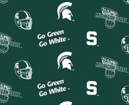 Package of Short Pieces Michigan State MSU Green 035 Fleece Fabric Print D007.04 - $14.52