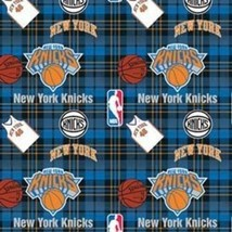 New York Knicks Plaid NBA Basketball Sports Team Print Fleece Fabric s82..005ac - $10.97