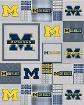 Package of Short Pieces Michigan Wolverines Grey 158 Fleece Fabric Print D006.04 - $13.36