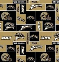 Package of Short Pieces Western Michigan 012 Broncos Fleece Fabric Print D007.07 - $13.65