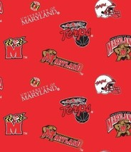 Package of Short Pieces Maryland Terrapins Terps Red Fleece Fabric Print D004.11 - $9.95