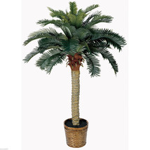 NEW 4 FT SAGO SILK PALM TREE WITH BASKET-TROPICAL ARTIFICIAL FAUX HOME D... - $84.99