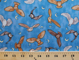 Enchanted Kingdom Owls Moons Stars Blue Cotton Fabric Print by the Yard ... - $10.95