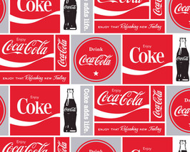 Coca-Cola Squares Soda Pop Bottles Fleece Fabric Print by the Yard A340.03 - $12.97