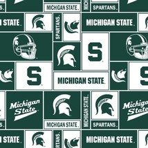Package of Short Pieces Michigan State MSU Sq 012 Fleece Fabric Print D005.62 - $13.07