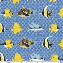 Pacific Reef Tropical Fish Ocean Sea Waves Blue Cotton Fabric Print BTY ... - $7.92