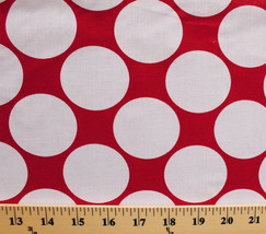 Large White Circles on Red Poly Cotton Fabric by the Yard D172.12 - $6.99