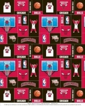 Package of Short Pieces Chicago Bulls NBA Square 012 Fleece Fabric Print D004.51 - $14.70