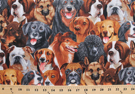 Playful Dogs Various Breeds Packed Cotton Fabric Print by the Yard D775.41 - $12.37