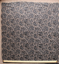"""40"""" x 38"""" Lace Panel Silver Metallic Floral Scalloped Edges Fabric Panel D168.11 - $9.97"""