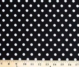 Original Design Matte' Jersey White Polka Dots on Black Fabric Print D453.02 - $7.99