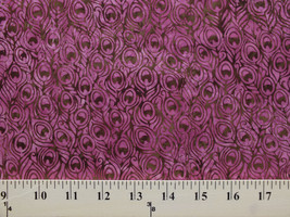 Peacock Feathers Bordeaux Bali Handpaints Cotton Batik Fabric Print BTY ... - $9.92
