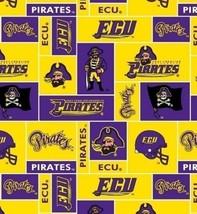 Package of Short Pieces East Carolina Pirates Team Fleece Fabric Print D004.73 - $13.94