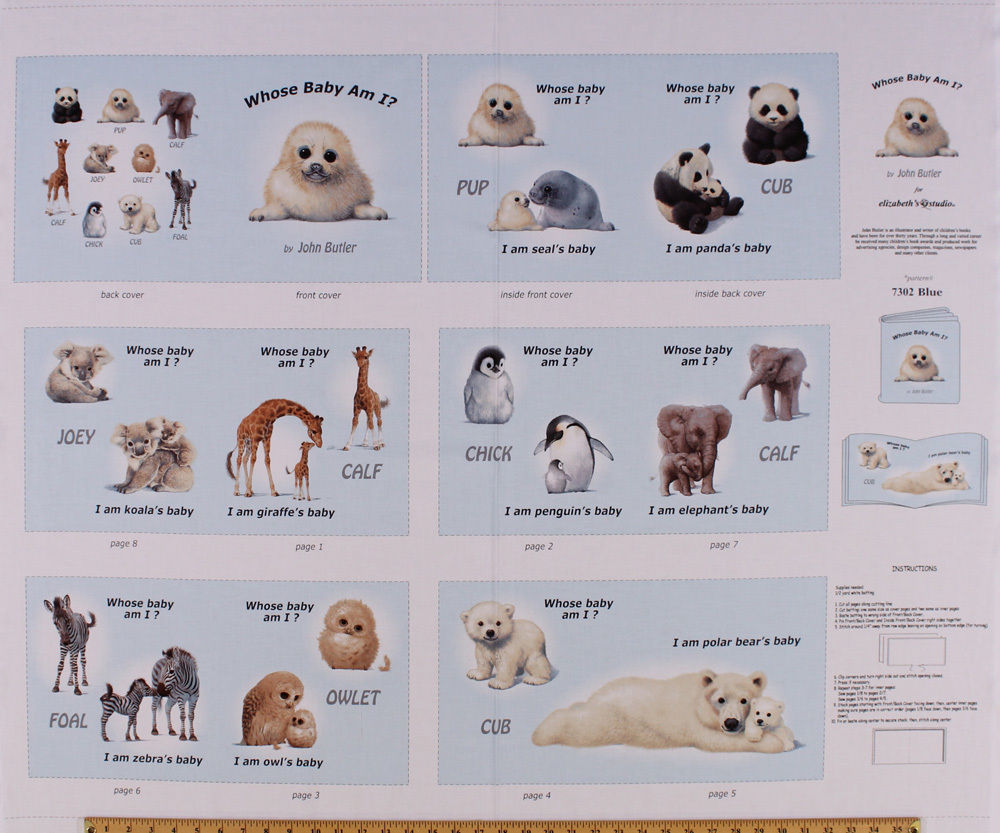 "35"" X 44"" Cotton Panel Animal Friends ""Whose Baby Am I?"" Soft Book Blue D462.24 - $11.61"