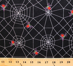 Spiders Webs Bugs The Very Series Kids Black Cotton Fabric Print BTY D78... - $8.92