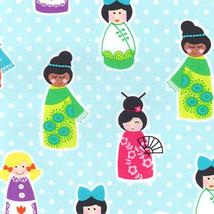 Happy Town Around the World Ethnic Girls Dollies Cotton Fabric Print BTY... - $11.49